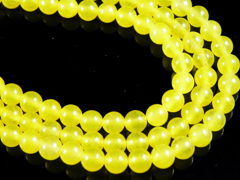 6mm YELLOW Round Jade Beads, half strand