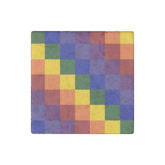 Checkered Rainbow Stone Magnet
