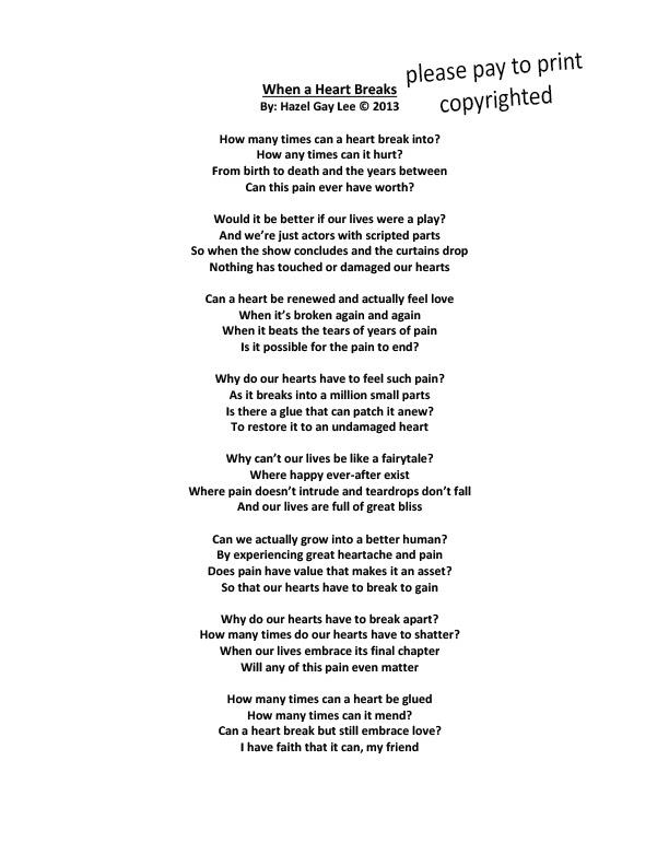 Hazelgaylee When A Heart Breaks Poem About The Pain Of A Broken