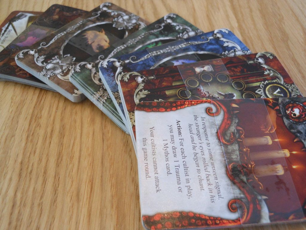 Attractive arrangement of Mansions of Madness large format cards, with superb artwork.