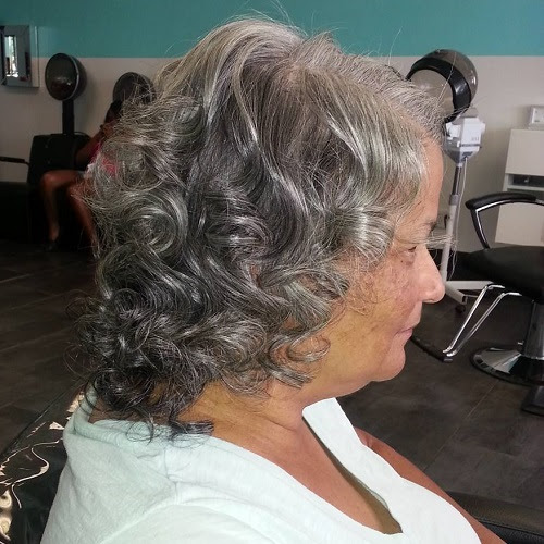 curly gray hairstyle for women over 70
