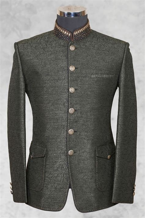 #Grey graceful #raw silk suit with bandhgala collar ST476