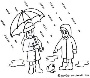 Mewarnai Gambar  Musim Hujan  Gambar  Mewarnai
