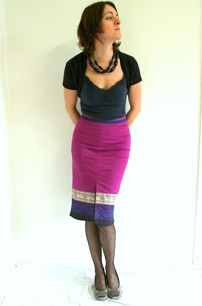 SALE Hot pink skirt pencil skirt - ribbon lace ruffle details - US size 4/6 XS/S extra small/small - clearance sale - Bartinki