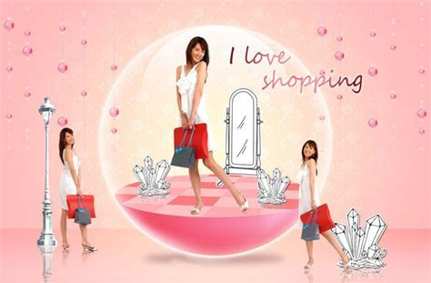 Beauty shopping scene PSD material   Free download