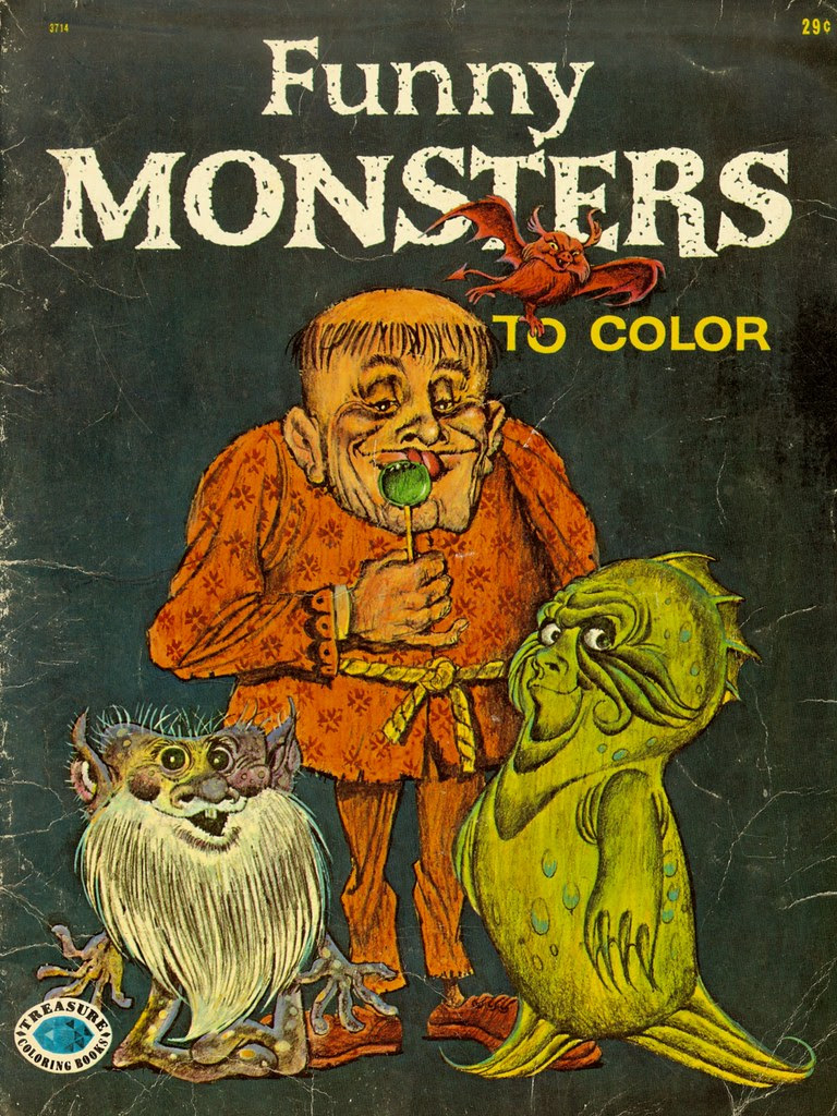 Funny Monsters Coloring Book (Treasure Books, 1965) Cover