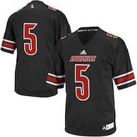 adidas Louisville Cardinals #5 Youth Replica Football Jersey - Black