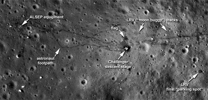 An LRO photo of the Apollo 17 landing site that was publicly released by NASA on September 6, 2011.