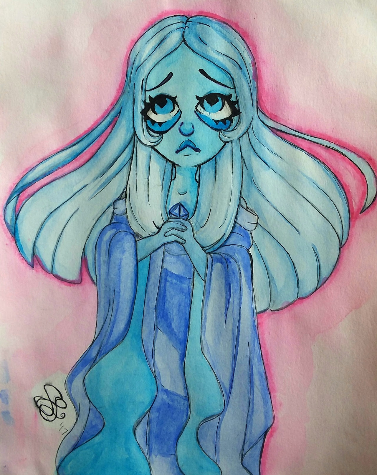 Blue diamond watercolor. Kinda messy but I love her anyway💎💎