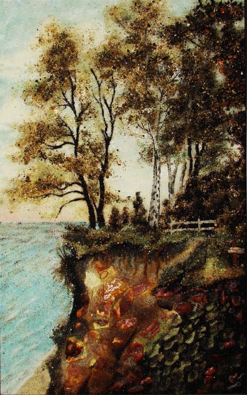 Beach of Svetlogorsk. Painting of amber, Kaliningrad, Russia