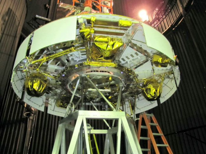 The MSL's cruise stage is prepped for testing inside a thermal vacuum chamber at NASA's Jet Propulsion Laboratory in California.
