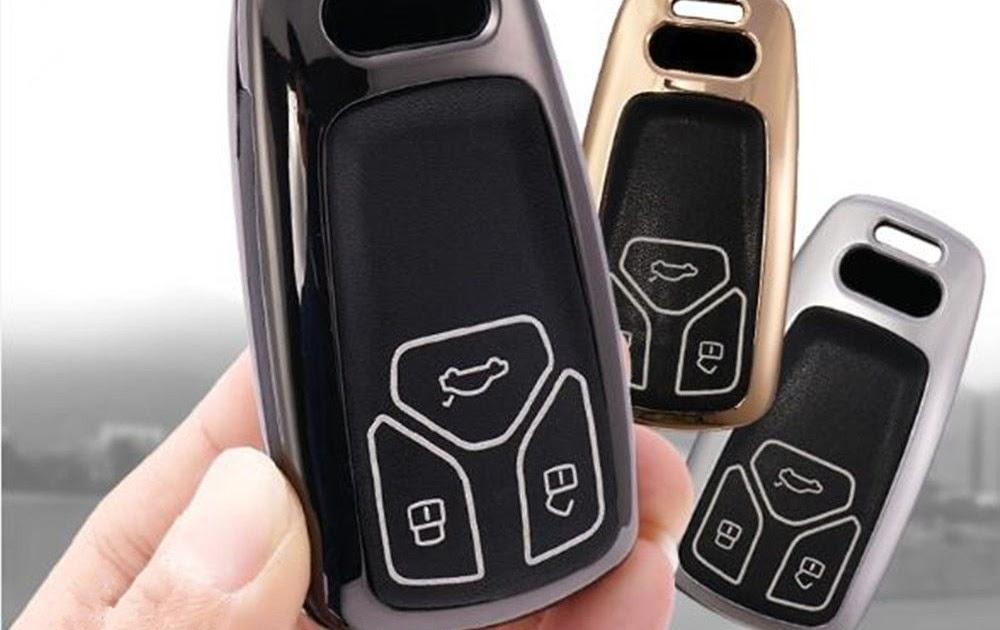 Car Remote Key Case Pouch Bag with Key Ring Kit Keychain Holder Hook M.JVisun Men Women Genuine Leather Key Fob Cover for Audi A4 A4L A5 Q5 Q7 S4 S5 SQ5 TT TTS Key Black