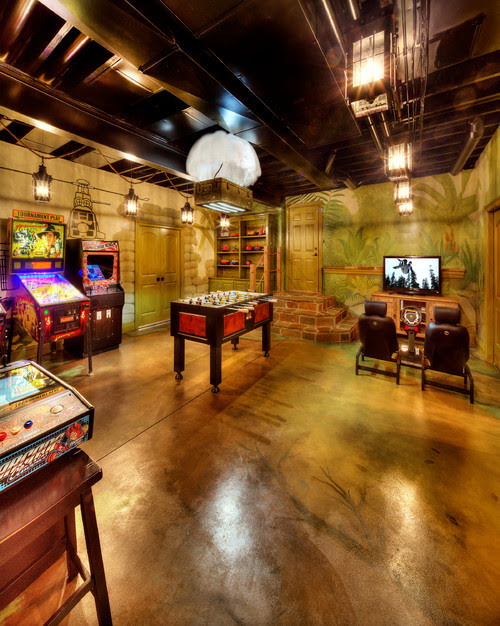 Really Cool Basement Interior Design Photos - Basement Bar and Arcade| Live Love in the Home