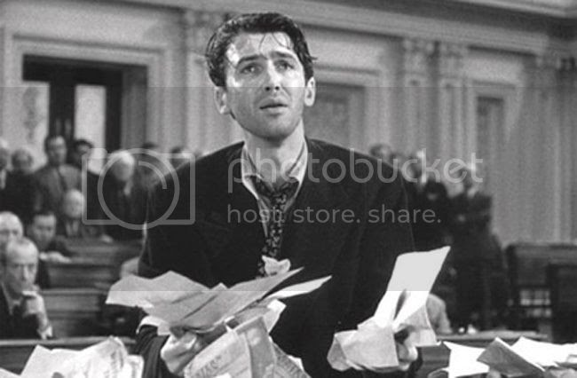 Jimmy Stewart reading Twitter messages against him?