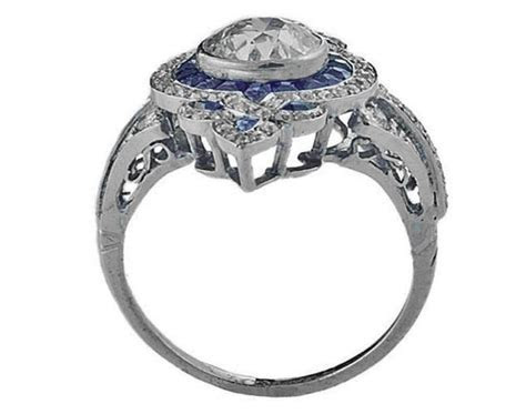 Engagement Ring  Fleur De Lis Diamond Art Deco Engagement