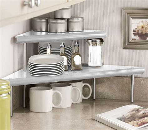 marimac  tier kitchen counter corner shelf  satin