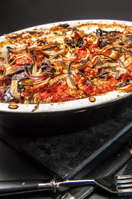 Eggplant Onion and Tomato casserole
