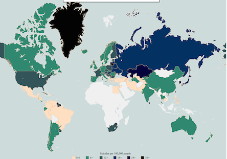 Countries (by sex!) with highest suicide rates. | elephant ...