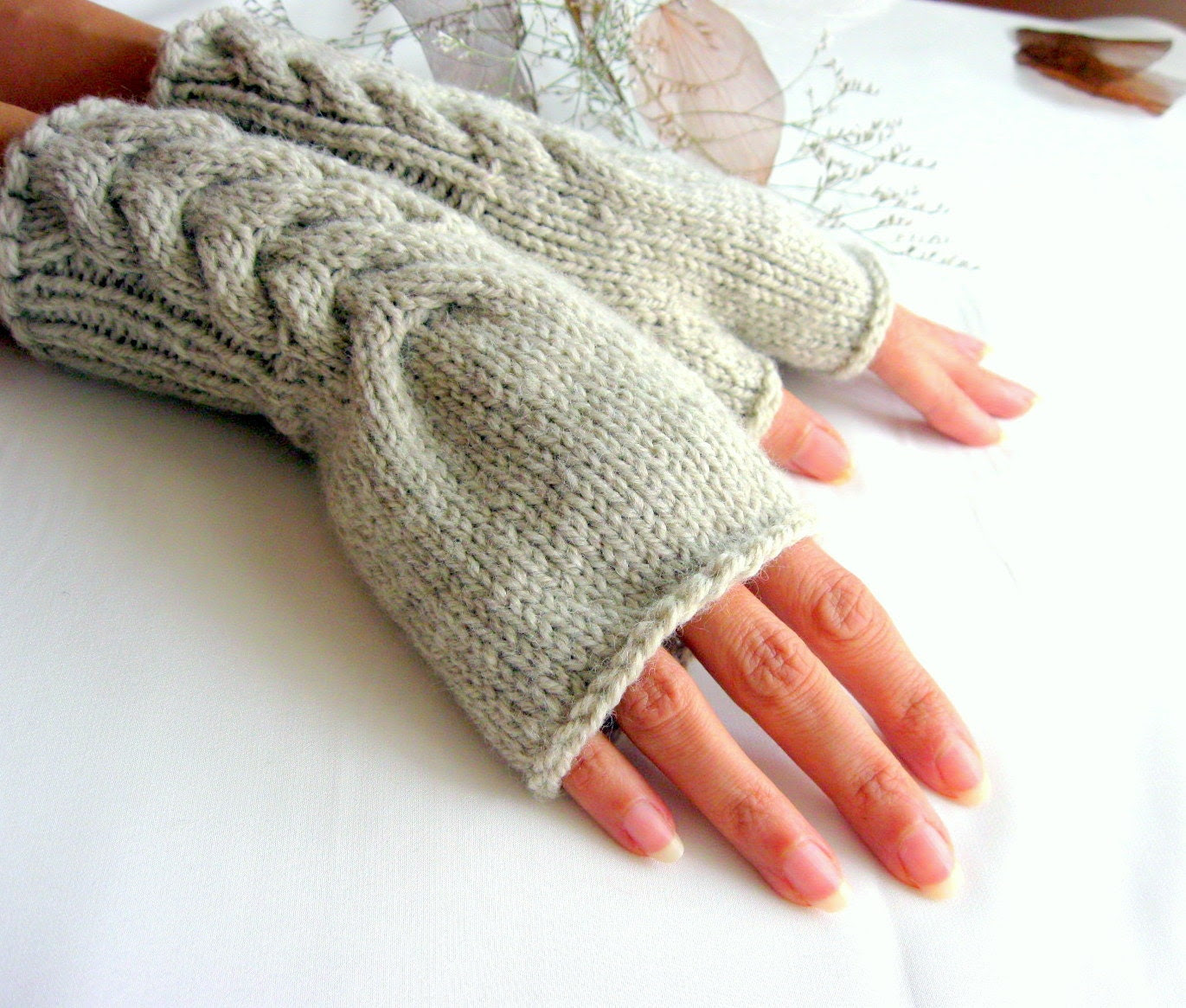 Fingerless Gloves with  a cable pattern in  beige-gray , light taupe