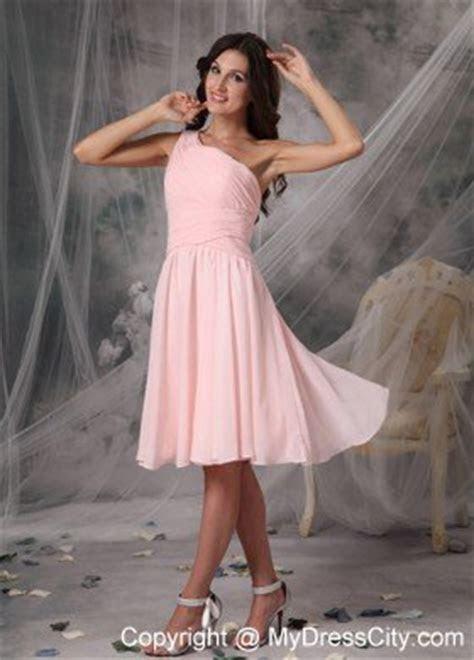 Blush Pink One Shoulder Ruching Chiffon Bridesmaid Dama