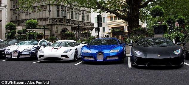L-R: Bugatti Veyron, Koenigsegg Agera, Bugatti Veyron and Lamborghini Aventador in London, all Middle Eastern owned cars