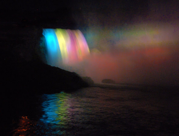 The Canadian Falls illuminated