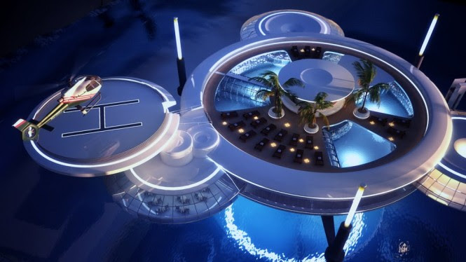 An enormous swimming pool marks the centre of the futuristic sky disc, and adjacent satellites, accessed via glass-walled passageways that tunnel through the diving training pool, hold a restaurant, spa and special recreation area. More seawater swimming pools reside on the rooftop along with an exotic garden, whilst an indoor multifunctional lobby harbors screens that monitor the surrounding aqueous zone, including a peek at diving activities in real time.