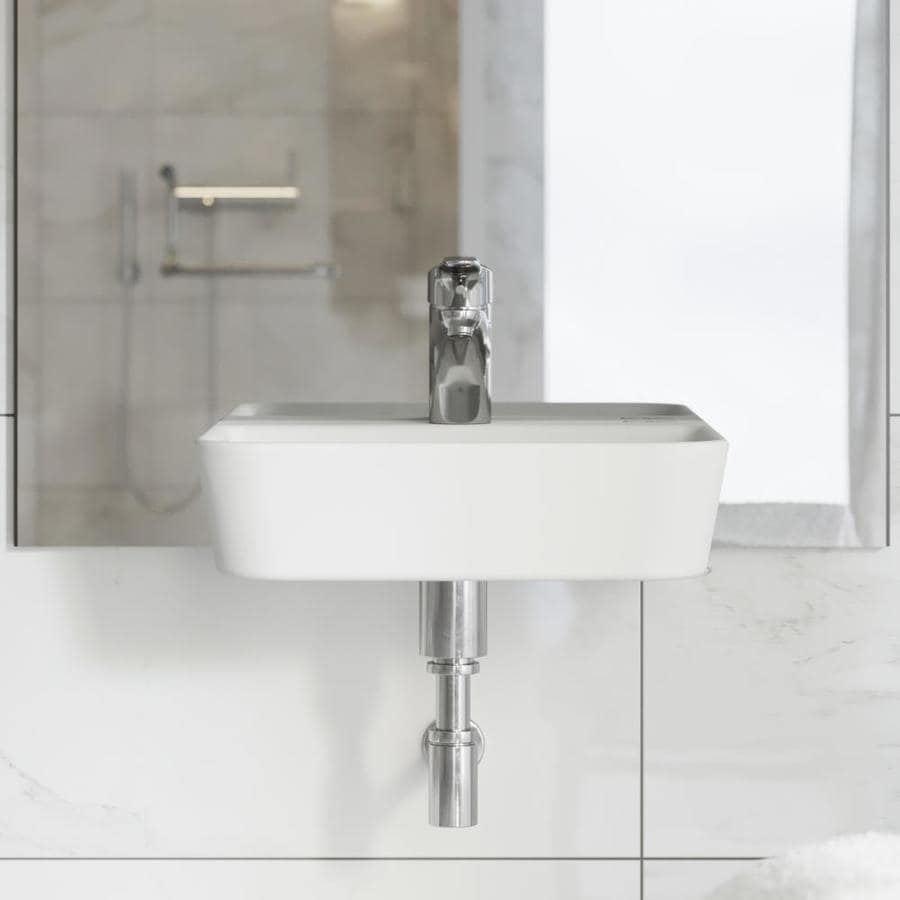 Swiss Madison St Tropez White Wall Mount Rectangular Bathroom Sink 17 5 In X 14 In In The Bathroom Sinks Department At Lowes Com