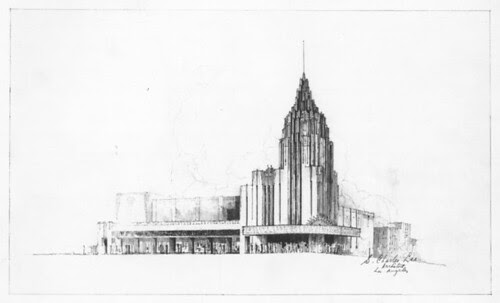 art deco Office Tower - Retail Stores sketch