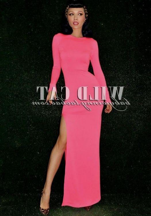 Bodycon dress pink hot long sleeve code