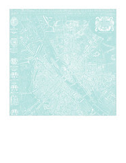 2a Map 1654 Plan de Boisseau LIGHT TURQUOISE - 7x7 inch