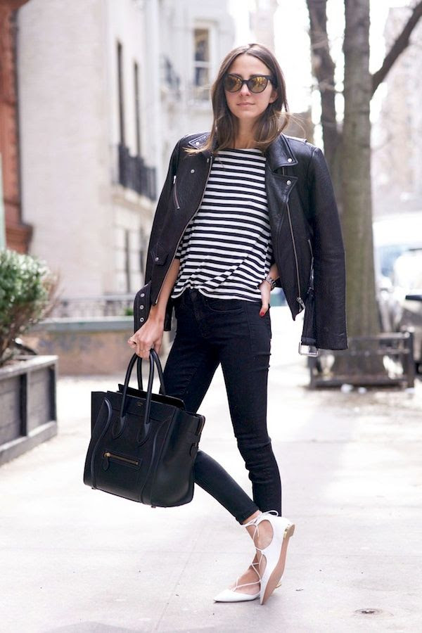 Le Fashion Blog Arielle Catfarer Sunglasses Leather Moto Jacket Striped Tee Skinny Jeans Celine Tote Aquazzura White Lace Up Flats Via Something Navy 1