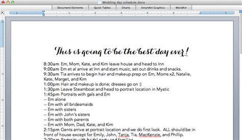 Bride Wars: Wedding Day Timeline
