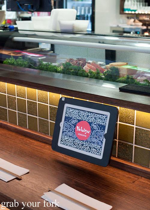 touch screen menus at yebisu izakaya, regent place sydney