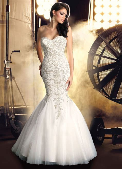 Strapless Mermaid Wedding Dresses With Bling   Brides