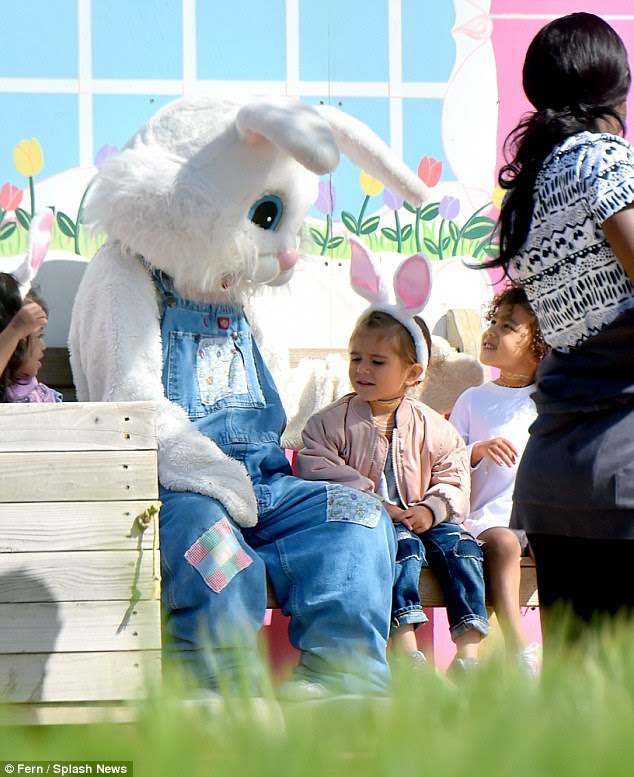 Meeting the Easter Bunny! The two girls got a chance to meet a creature of folklore and myth
