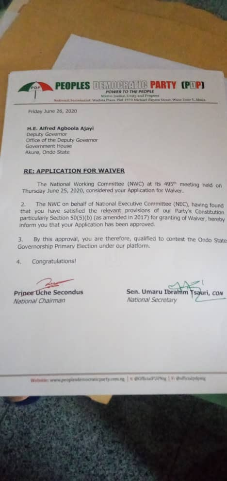 PDP Grants Ondo Deputy Governor Waiver To Contest 2020 Governorship Election