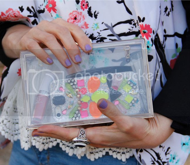 clear clutch with Xhilaration floral moto jacket and skinnydip London gemstone iPhone case