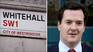 Whitehall street sign and George Osborne