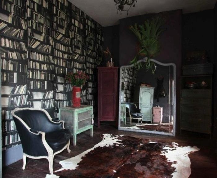 another book solution - layer actual books in front of book wall paper (Alice in Wonderland in Australia : Remodelista)