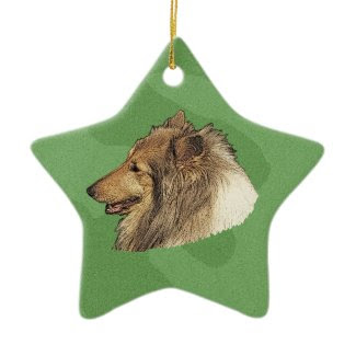 Merry Xmas Collie Ornament