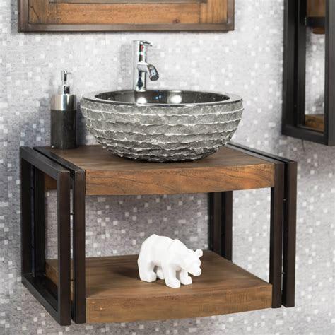 meuble sous vasque simple vasque suspendu en bois teck