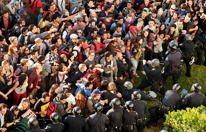 On November 9th, 2011, protestors and police clashed over an encampment that protestors had erected near Sproul Hall.