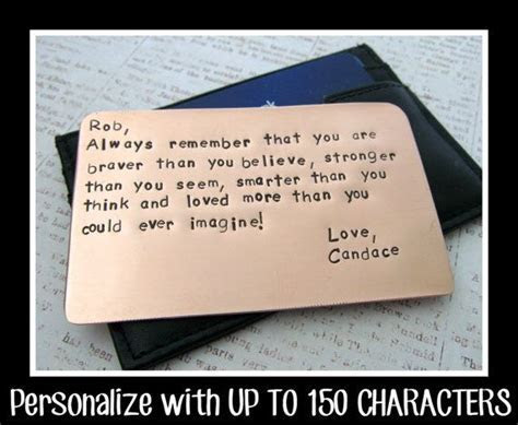 Copper Wallet Insert Card   Personalized Letters Numbers