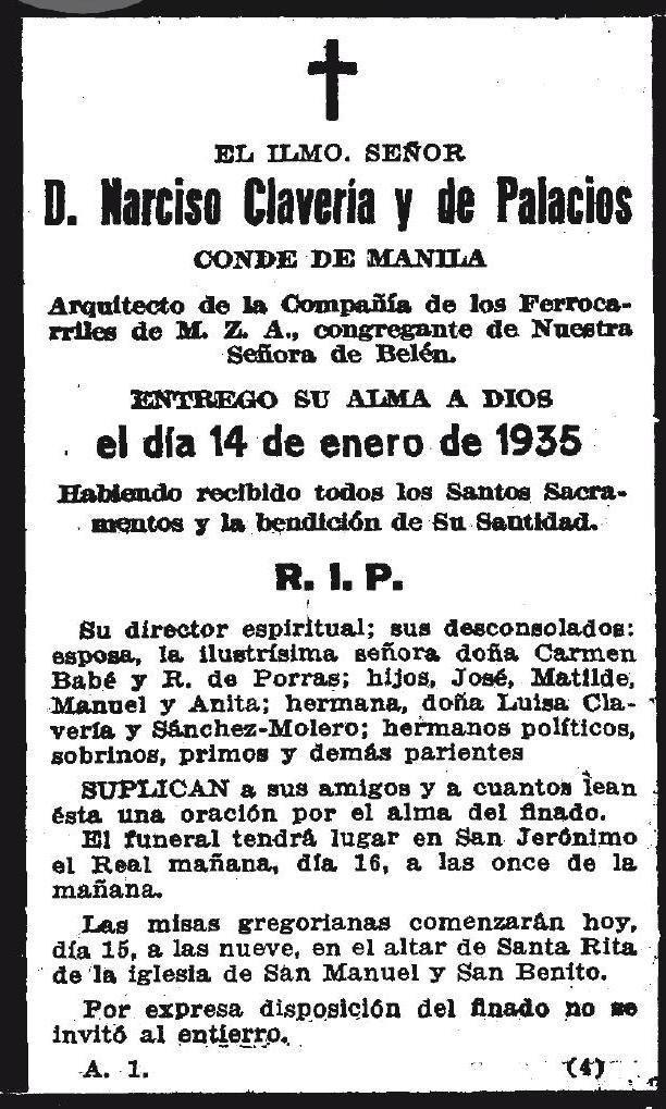 Esquela con motivo de la muerte de Narciso Clavería en 1935. Diario ABC