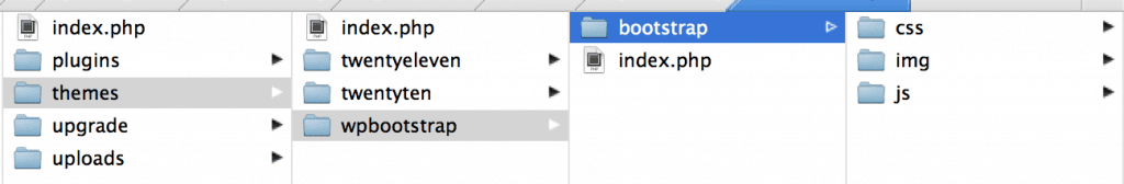 Screenshot showing index file in bootstrap theme folder