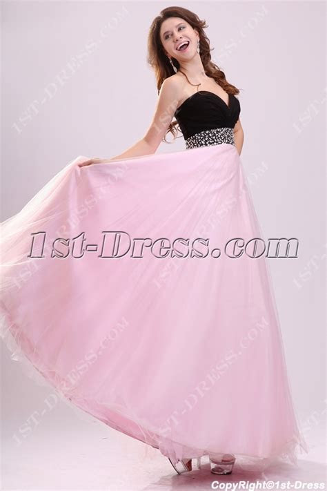 Stylish Black and Pink Long Ball Gown for Plus Size:1st