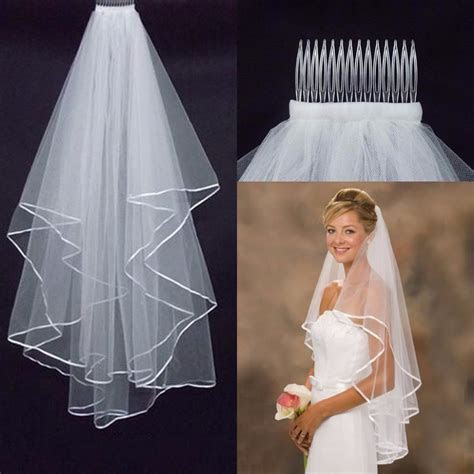 Simple Tulle White Ivory Two Layers Wedding Veils Ribbon