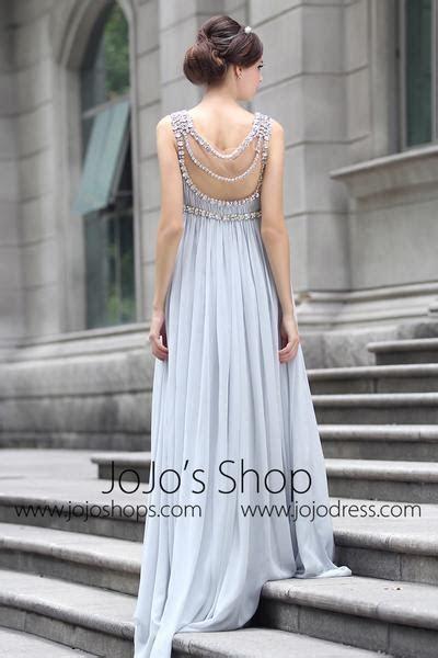 Grecian Goddess Empire Waist Gray Formal Prom Evening