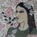 芭梅菈‧埃米亞,夜晚的視線Small night sight,木刻版印於二十世紀初法國布料、印花棉布、線,58 x 37cm,2013